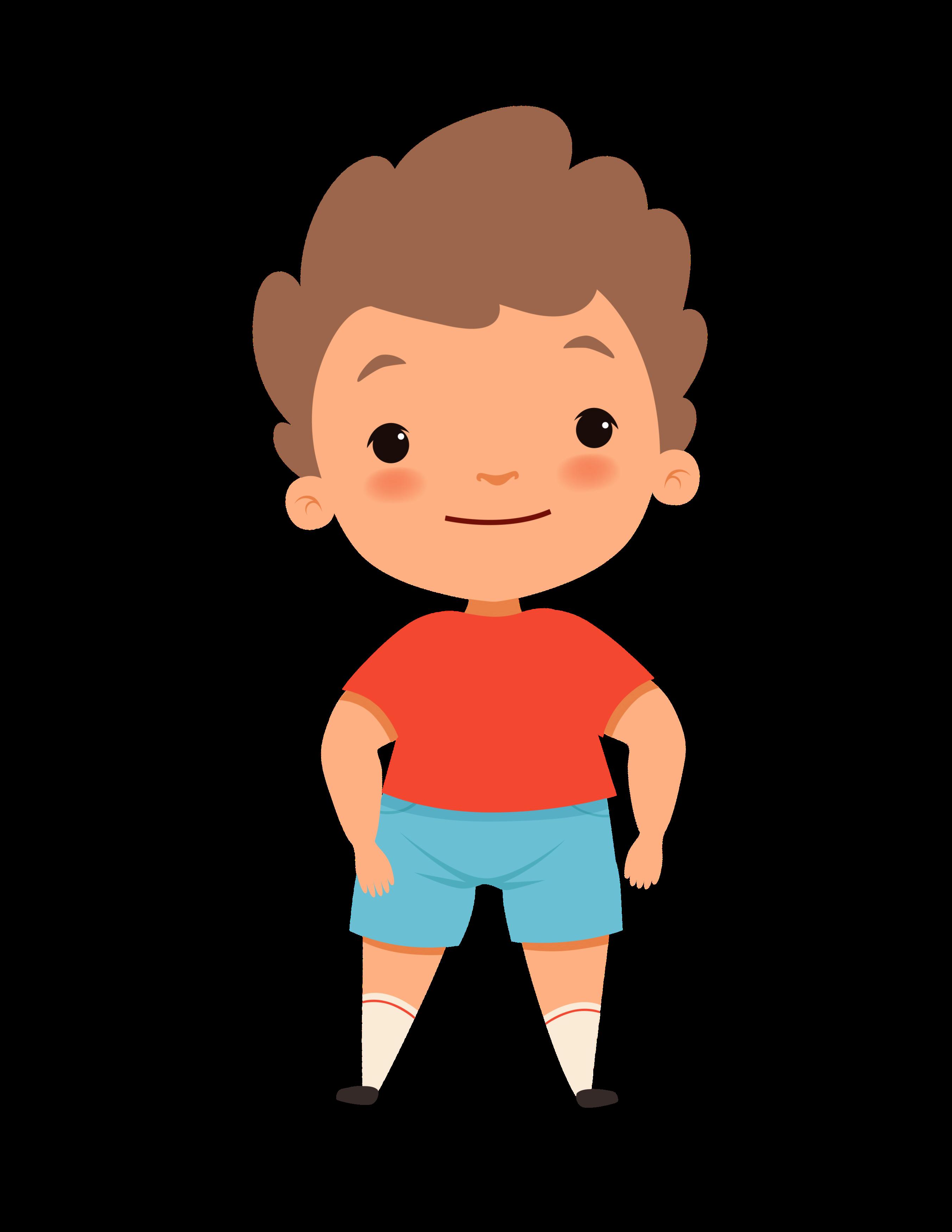 Jakob, kleiner Junge in blauer short und rotem T-shirt mit braunen Haaren