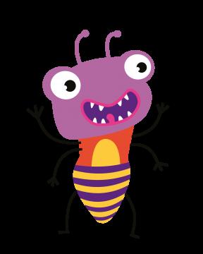 Lustiger bunter Käfer mit offenem Mund